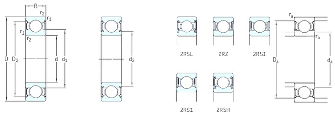 7 mm x 22 mm x 7 mm  SKF 627-2RSH deep groove ball bearings